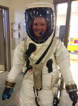 NASA intern wearing protective gear