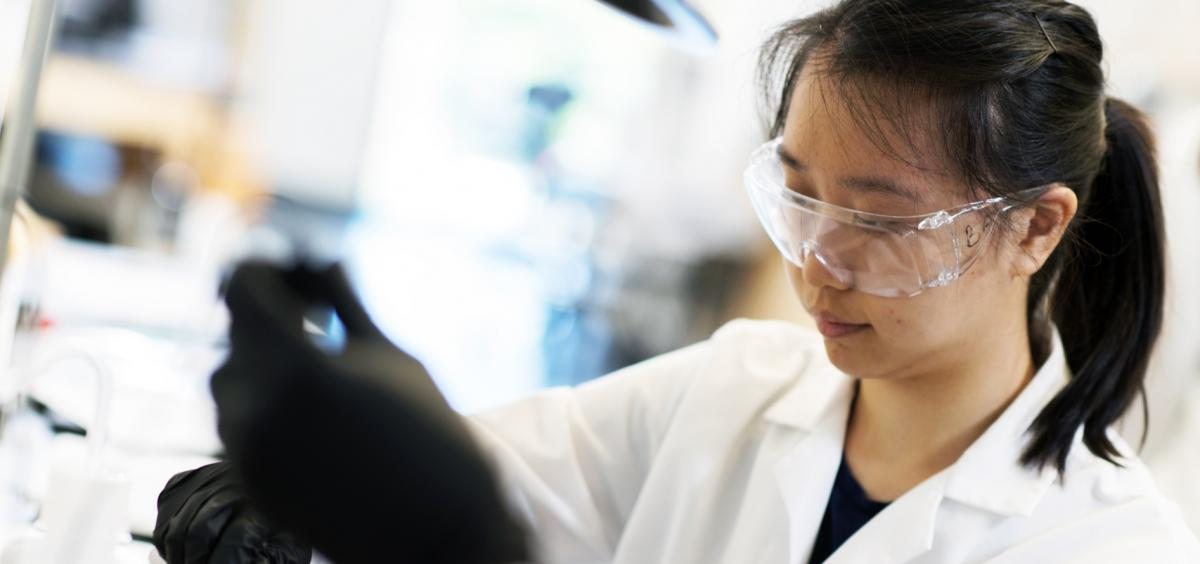 Johnson intern Cindy Wong works in the lab.