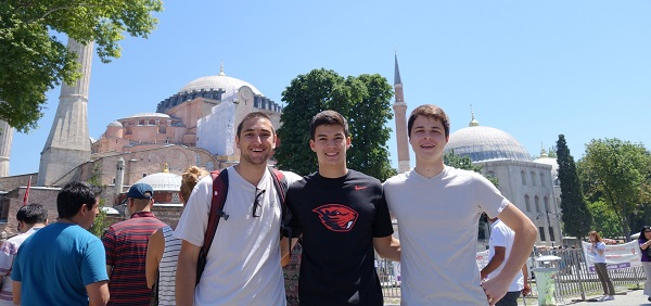 students in front of turkish building